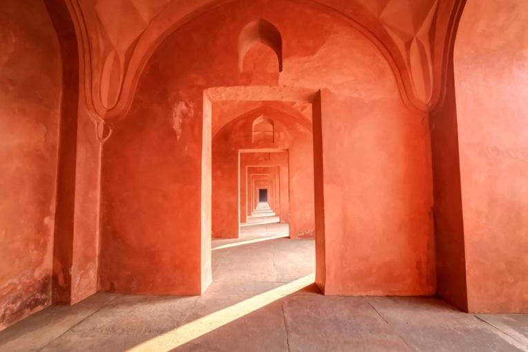 Long red corridor